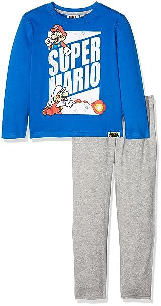 Super Mario Bros 161961, Conjuntos de Pijama para Niños, (Bleu Gris),