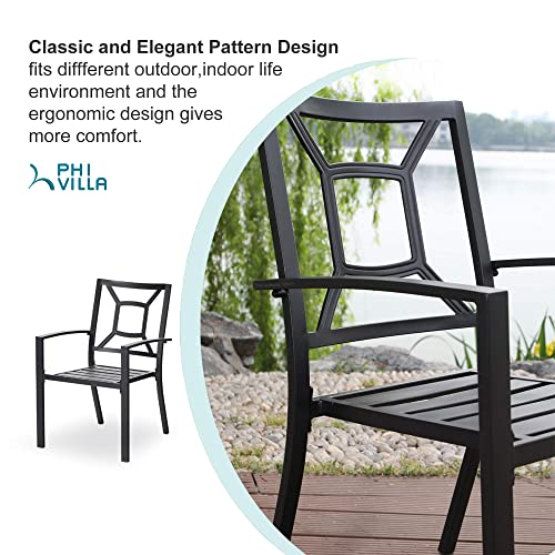 PHI VILLA Patio Dining Chair Metal Arm Chairs for Indoor Outdoor, 2 Pack – Black