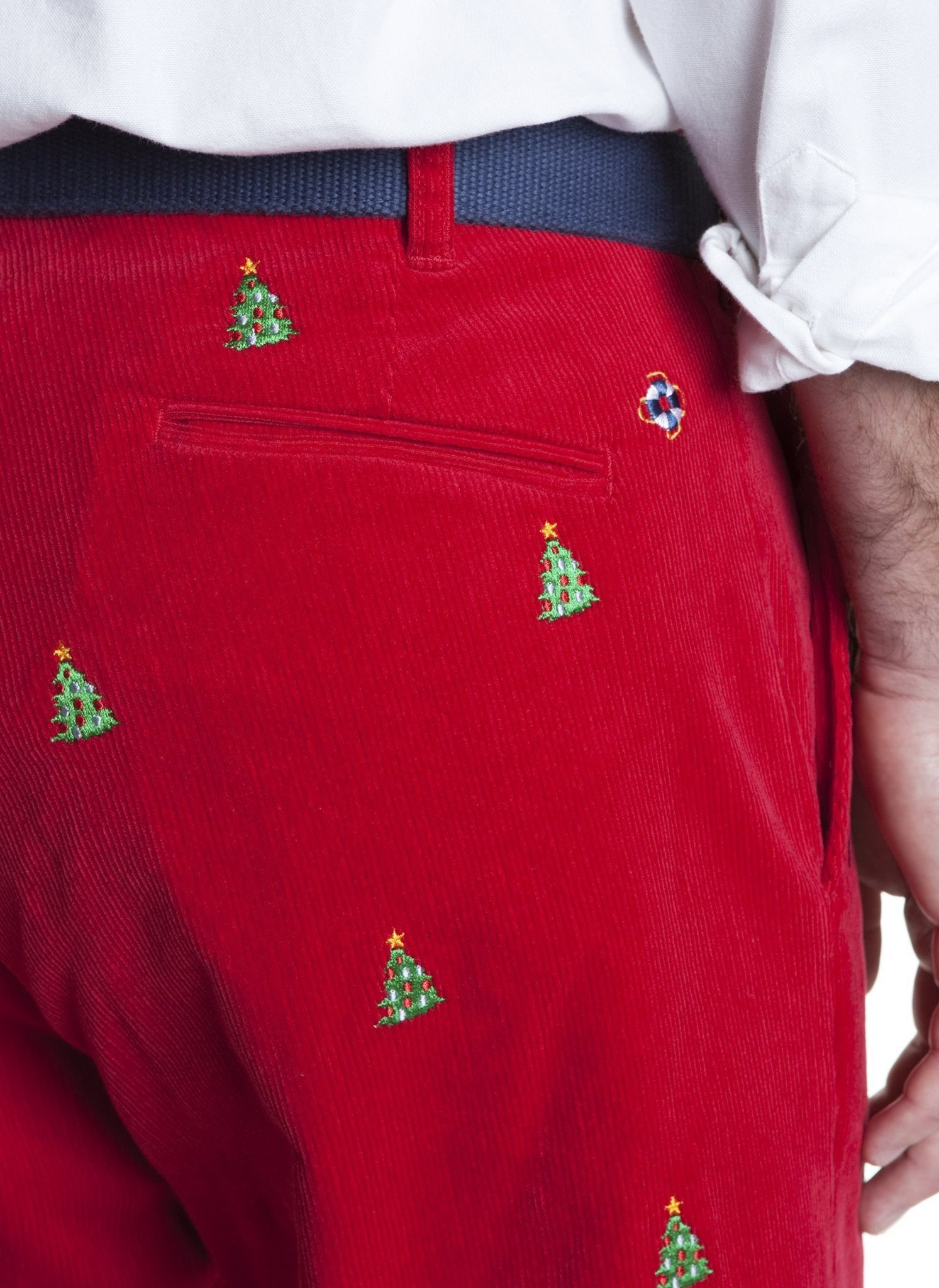 The Fine Swine Men's Castaway Embroidered Holiday Pants 40 Crimson Red With Christmas Trees by THE FINE SWINE and Castaway Clothing (Image #2)