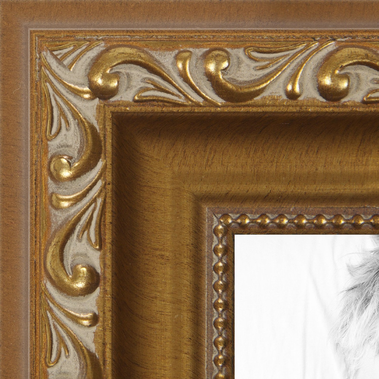 ArtToFrames 14x16 inch Gold with beads Wood Picture Frame, 2WOMD10051-14x16