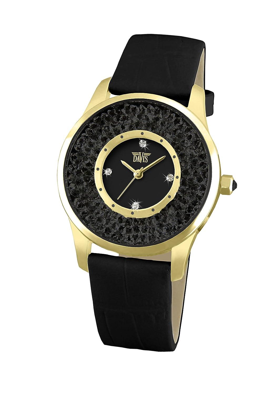 Davis 1789 - Damen Strass Uhr Schwarz Kristall Swarovski Gold Ziffernblatt Schwarz Armband Leder Schwarz