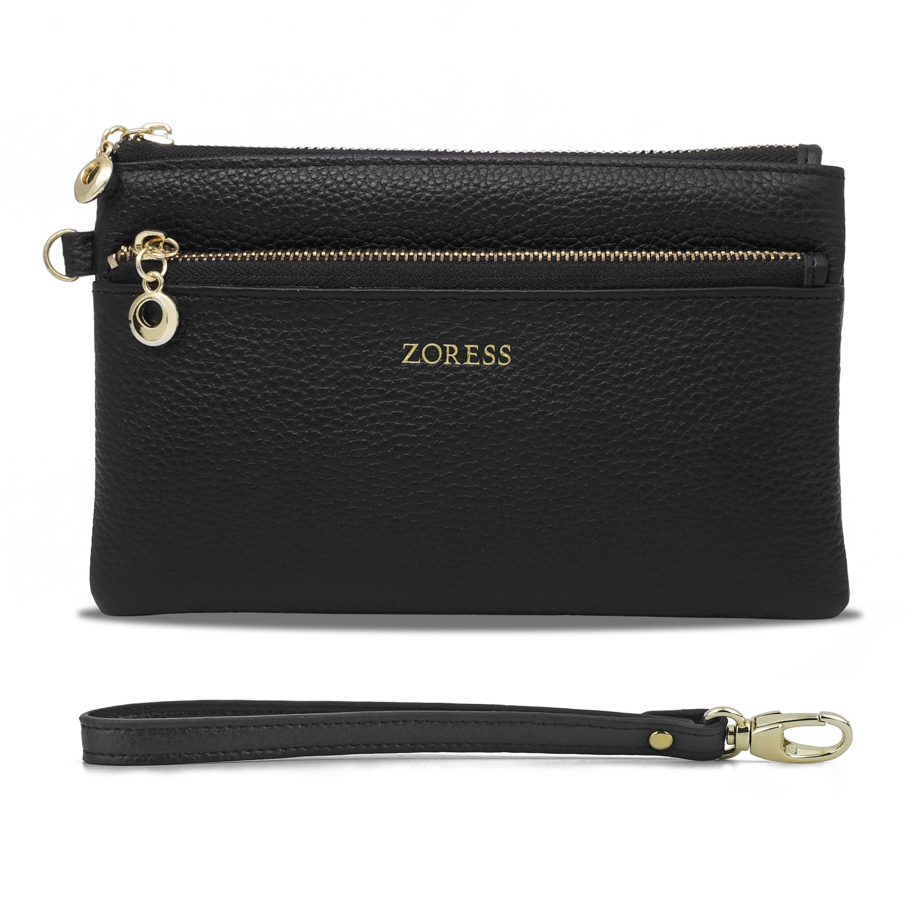 ZORESS Women Genuine Leather Wristlets Bag, Clutch Organizer Wallets Purses for iPhone(Black Long)