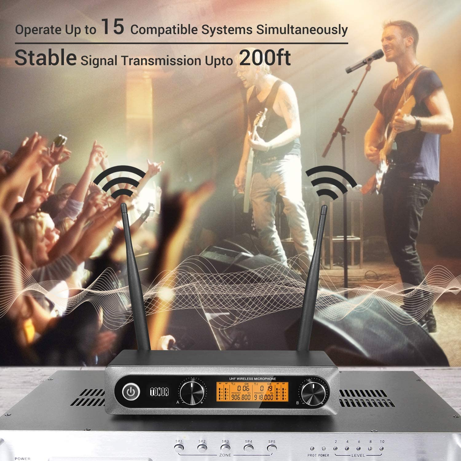 TONOR Wireless Microphone,Metal Dual Professional UHF Cordless Dynamic Mic Handheld Microphone System for Home Karaoke, Meeting, Party, Church, DJ, Wedding, Home KTV Set, 200ft(TW-820): Musical Instruments