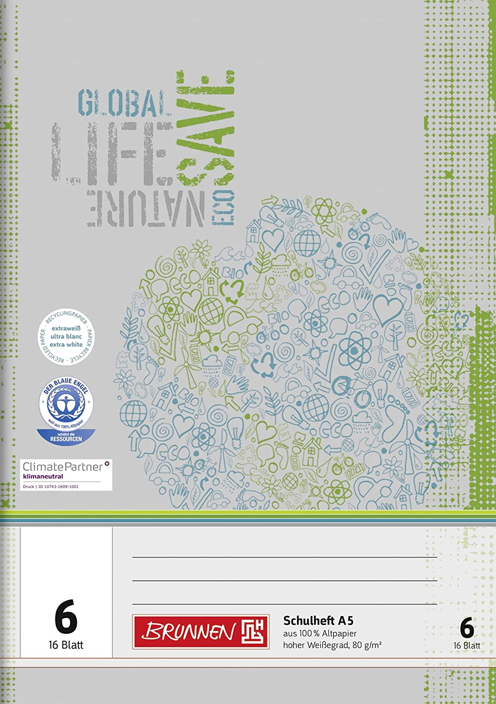 Brunnen 104510601 Recycling-Schulheft DIN A5 (16 Blatt, einfaches Heft)