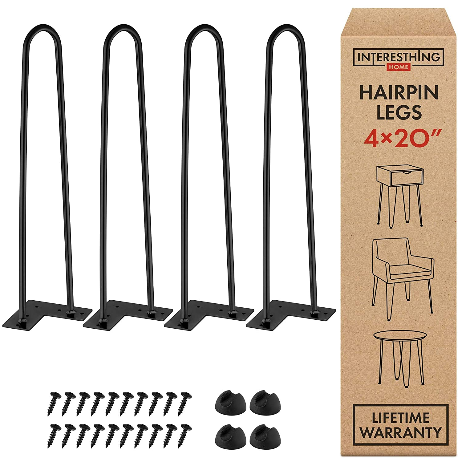 "20 Inch Heavy Duty Metal Coffee Table Legs with Screws and Hairpin Leg Protector Included - 4 Piece Set - Pre-Drilled Holes for Easy Installation - Add Mid Century Modern Flair to Your Home (20"")"