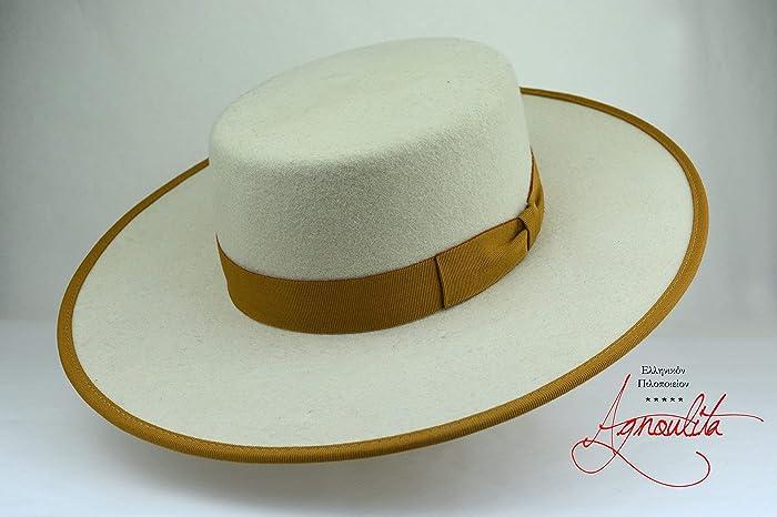 99bf9778359d7 Amazon.com  The Cosmopolitan - Wool Felt Flat Crown Bolero Hat - Wide Brim  - Men Women  Handmade
