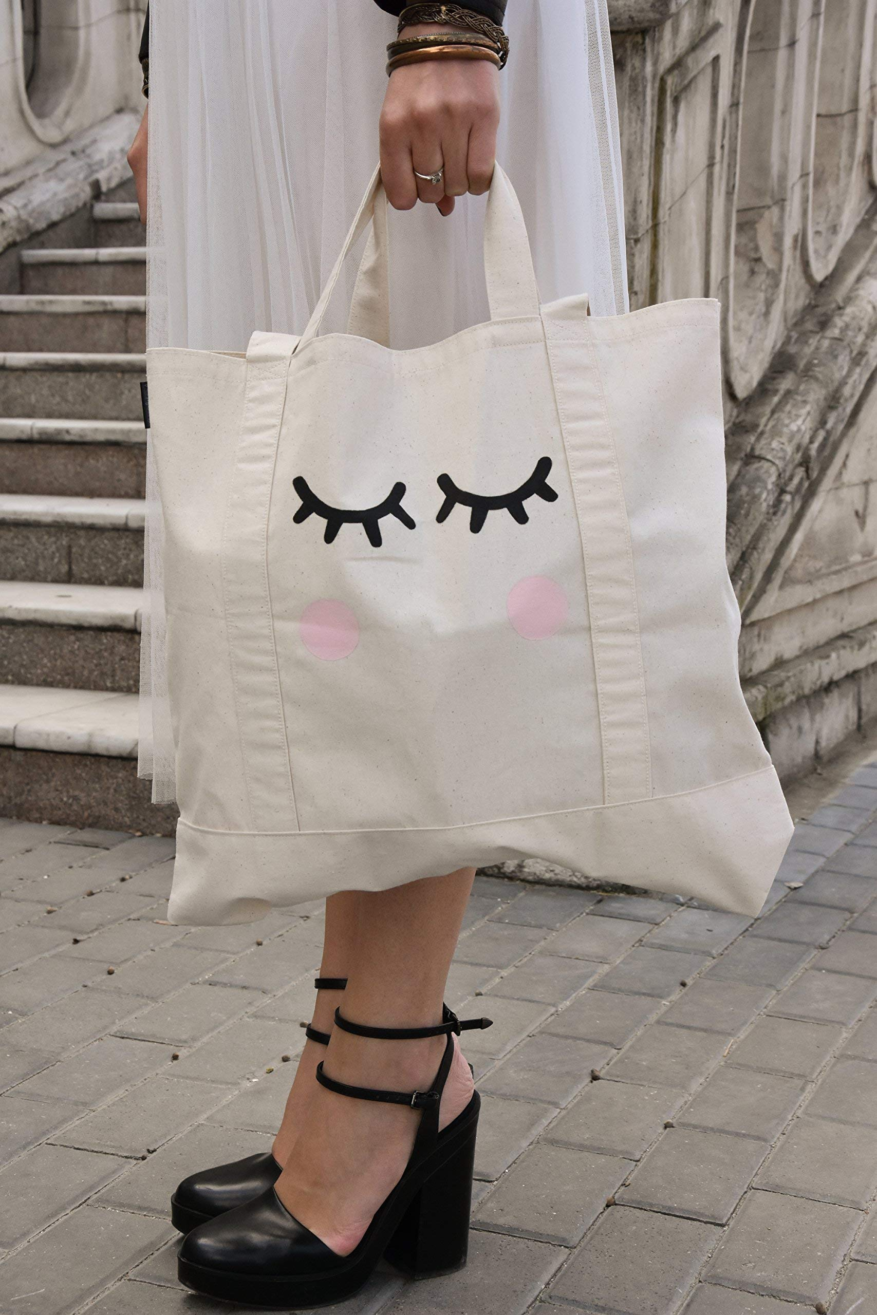 Eco-friendly Reusable Canvas Grocery Tote Bag Cutie Handmade by EcoMood, Natural materials, Hand Painted Tote Bags
