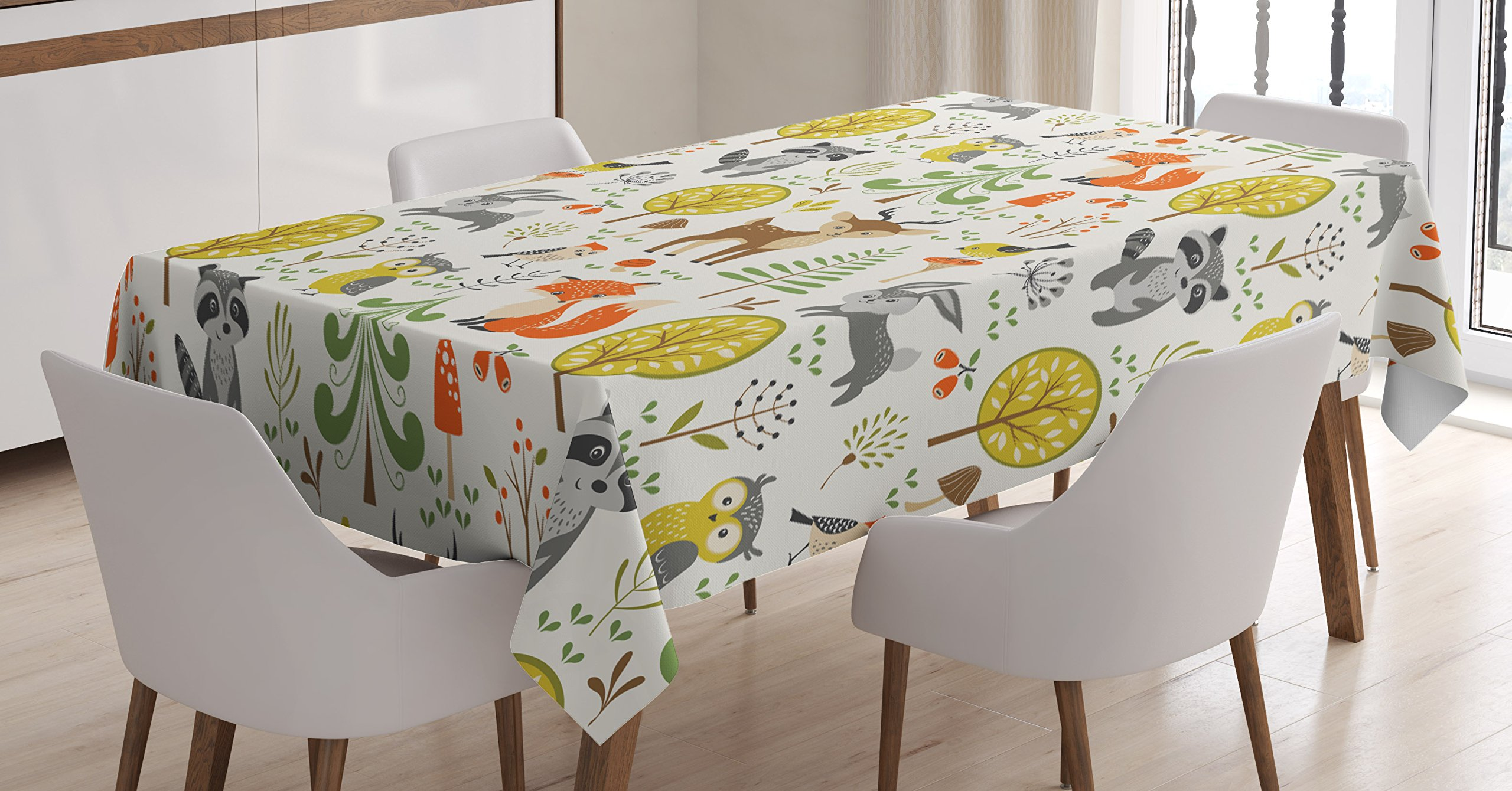 Ambesonne Kids Decor Tablecloth by, Woodland Forest Animals Trees Birds Owls Fox Bunny Deer Raccoon Mushroom Home and Party Decorations, Dining Room Kitchen Rectangular Table Cover, 60 X 84 Inches,