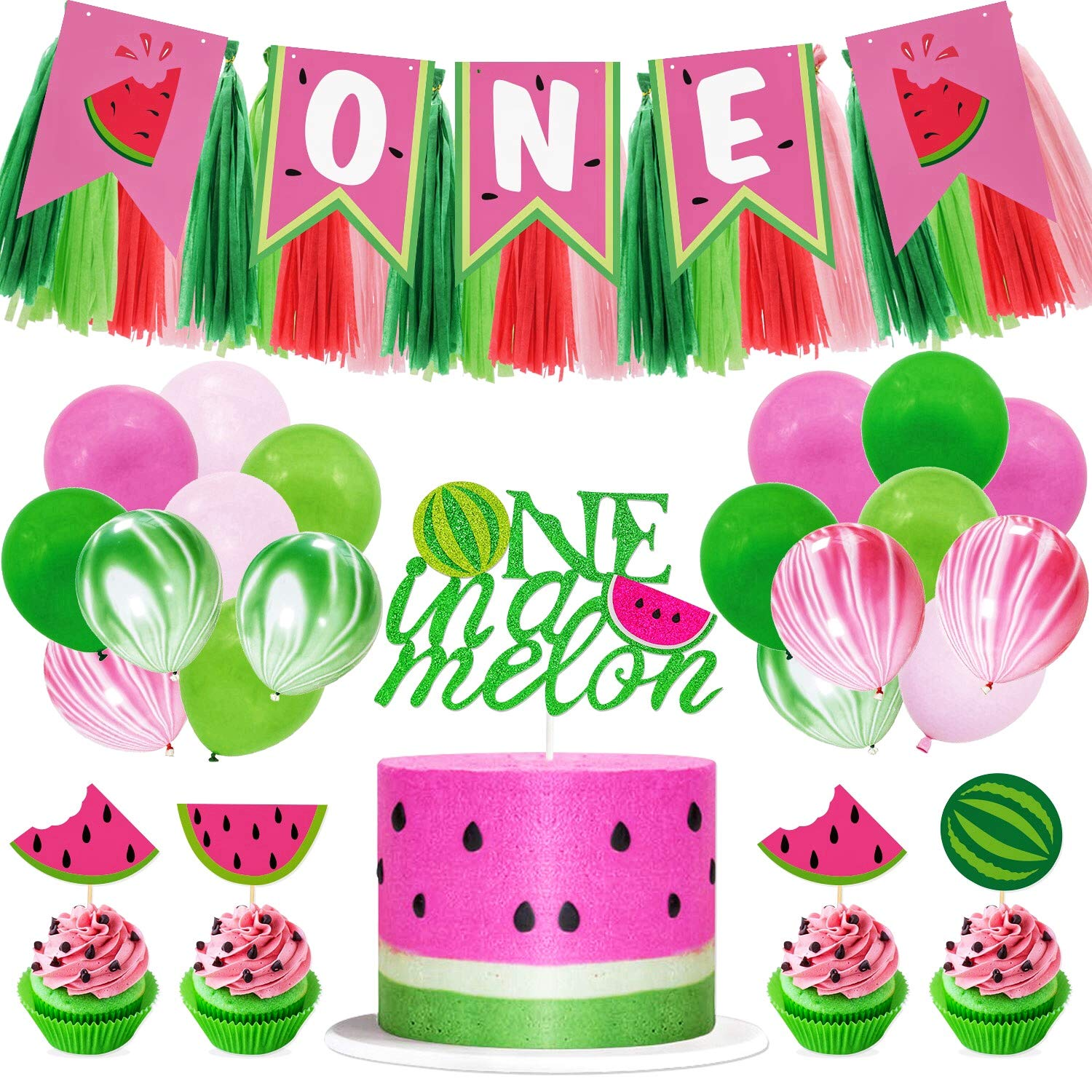 Watermelon Birthday Party Decorations One In A Melon Cake Topper Watermelon Cupcake Topper Melon Balloon 1st Bday High Chair Banner for Summer Fruit Themed First Birthday Party Supplies Glitter Decor by Joymee