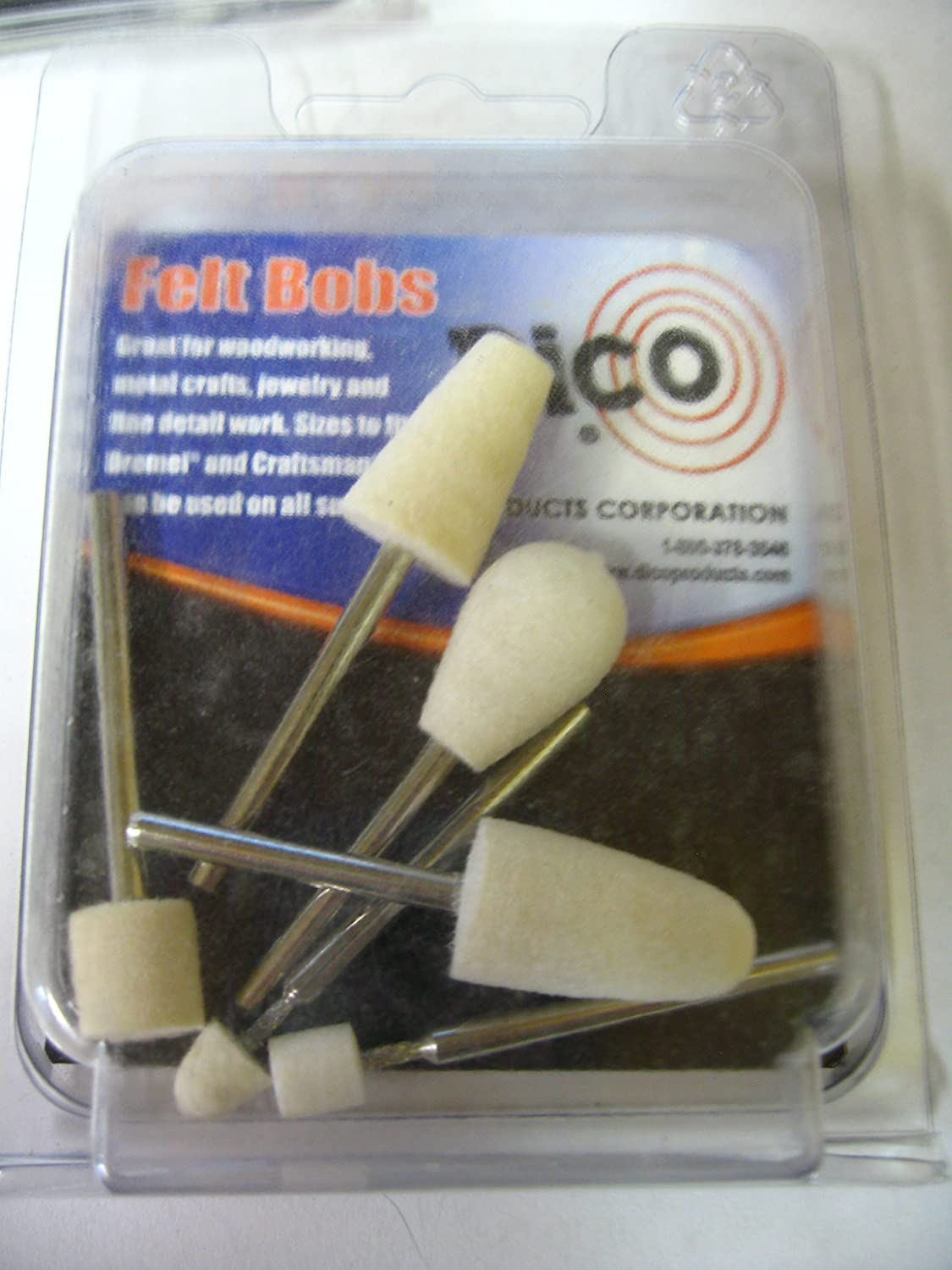 6-packs of 6 36 Pcs Dico Products Rotary Tool Felt Bobs Assortment 1//8