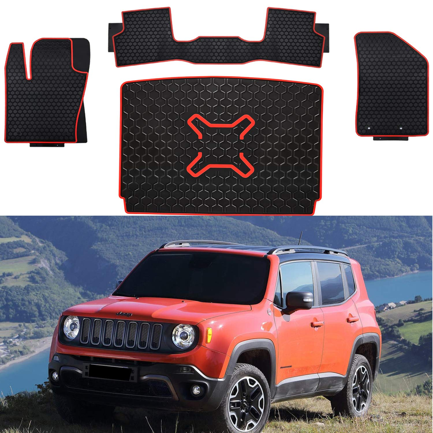 E-cowlboy Front and Rear Seat Floor Mats/& Rear Cargo Liner Trunk Mats Set Latex Odorless Flexible fit All Weather for 2015-2019 Jeep Renegade