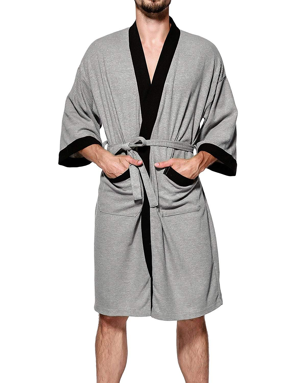 Cedodo Men's Turkish Cotton Bathrobe Waffle Kimono Terry Cloth Hotel Spa Robes,GreyB,X-Large