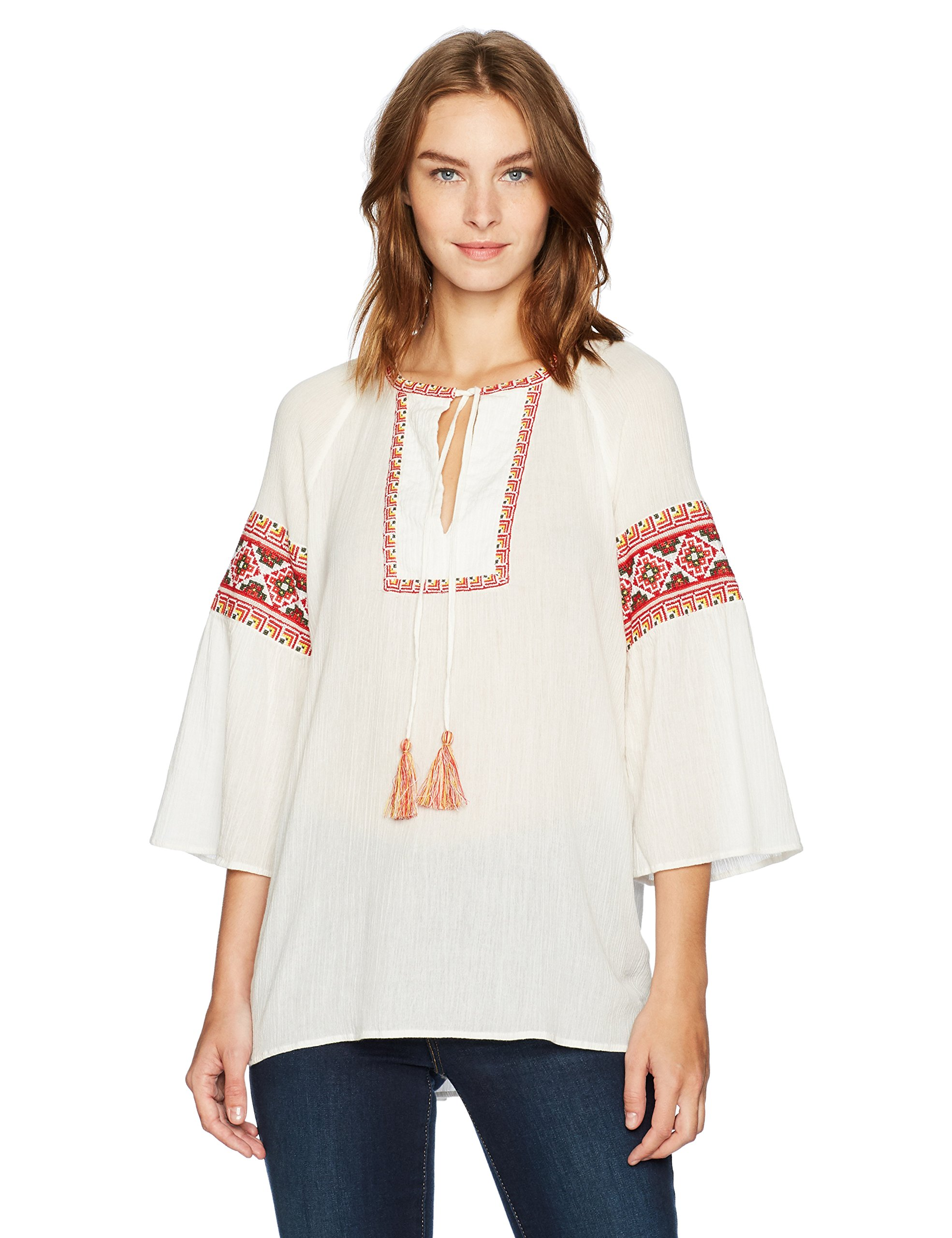 French Connection Women's Adanna Crinkle Top, Summer White/Multi, S