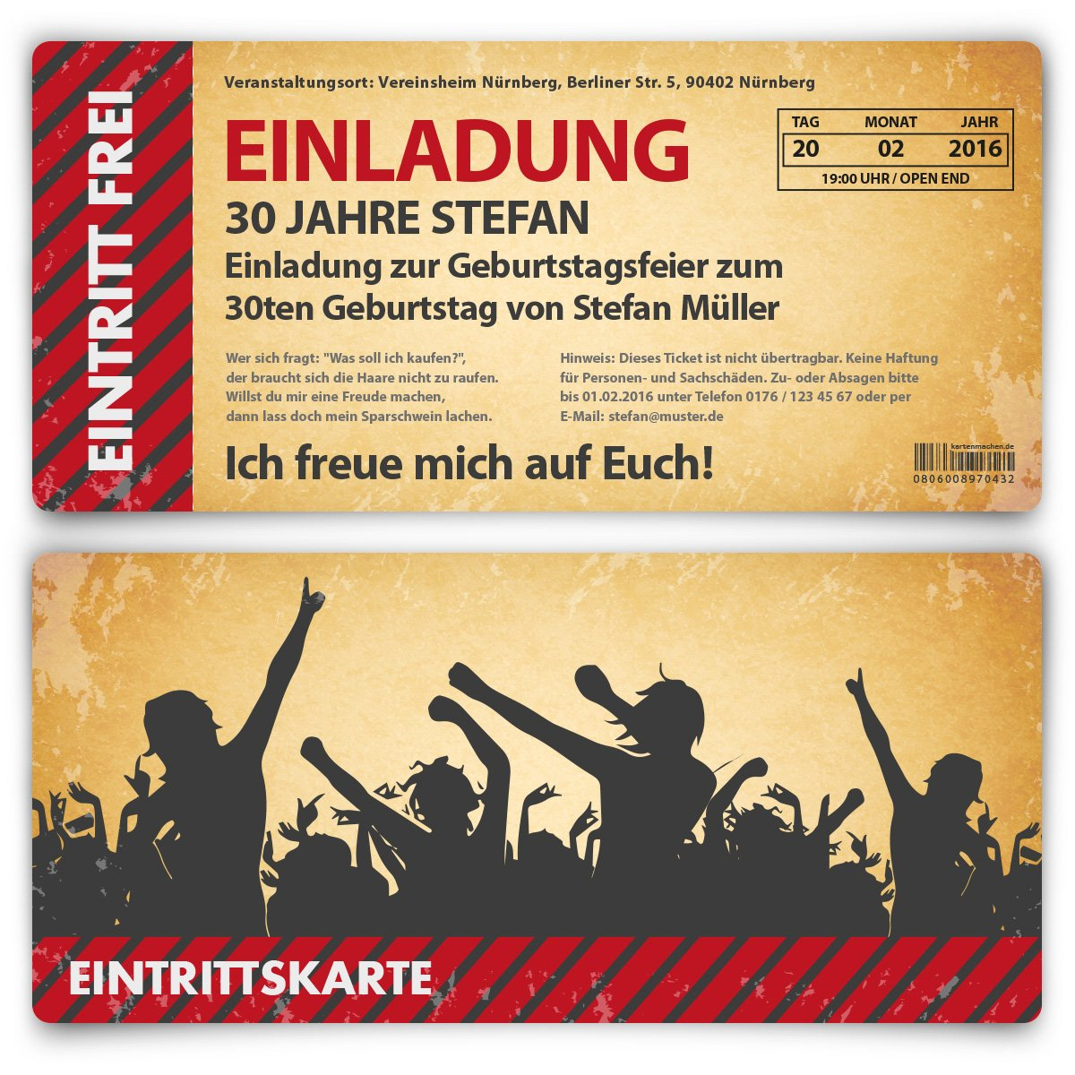Einladungskarten zum Geburtstag (30 Stück) als Eintrittskarte im ...