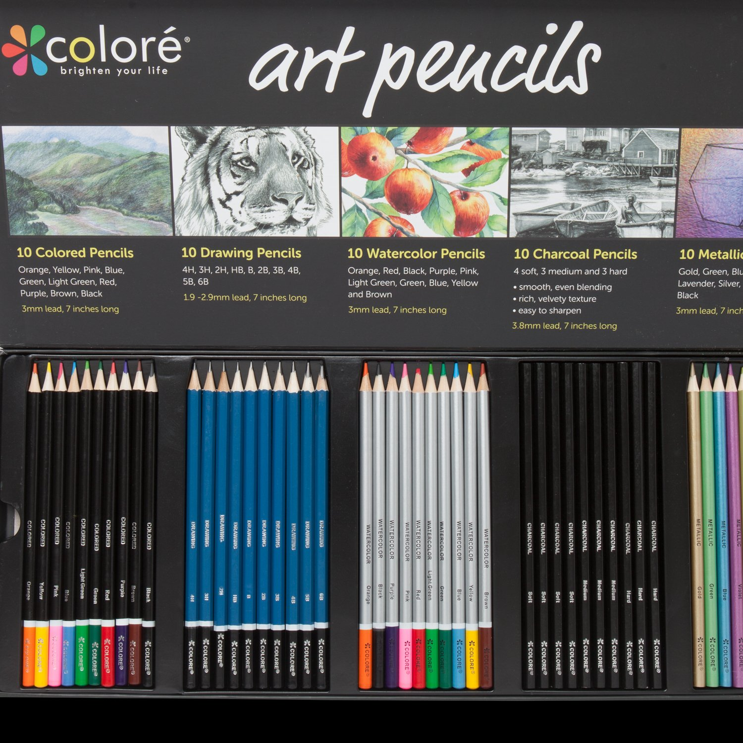 Colore Premium Art Pencils Pack - 50 Assorted Pencil Set for Coloring Pages & Books - Colored, Watercolor, Drawing, Charcoal and Metallic Color Pencils for Students, Kids & Adults School Supplies by Colore