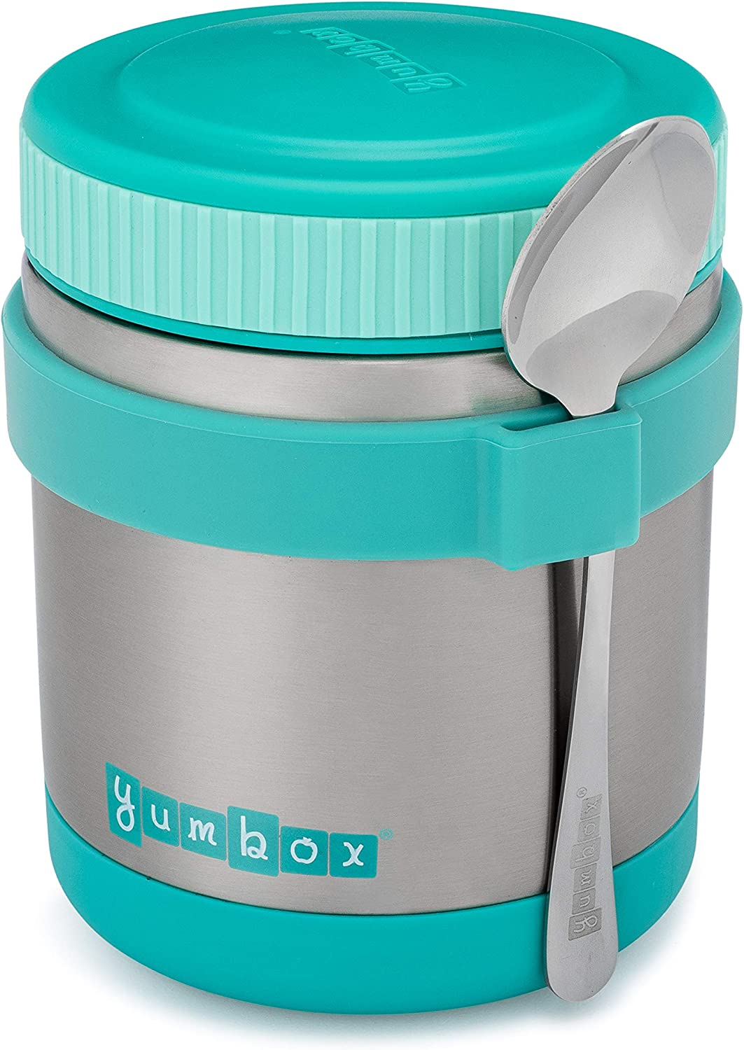 Yumbox Zuppa - Wide Mouth Thermal Food Jar 14 oz. (1.75 cups) with a removable utensil band - Triple Insulated Stainless Steel - Stays Hot 6 Hours or Cold for 12 Hours - Leak Proof-Caicos Aqua