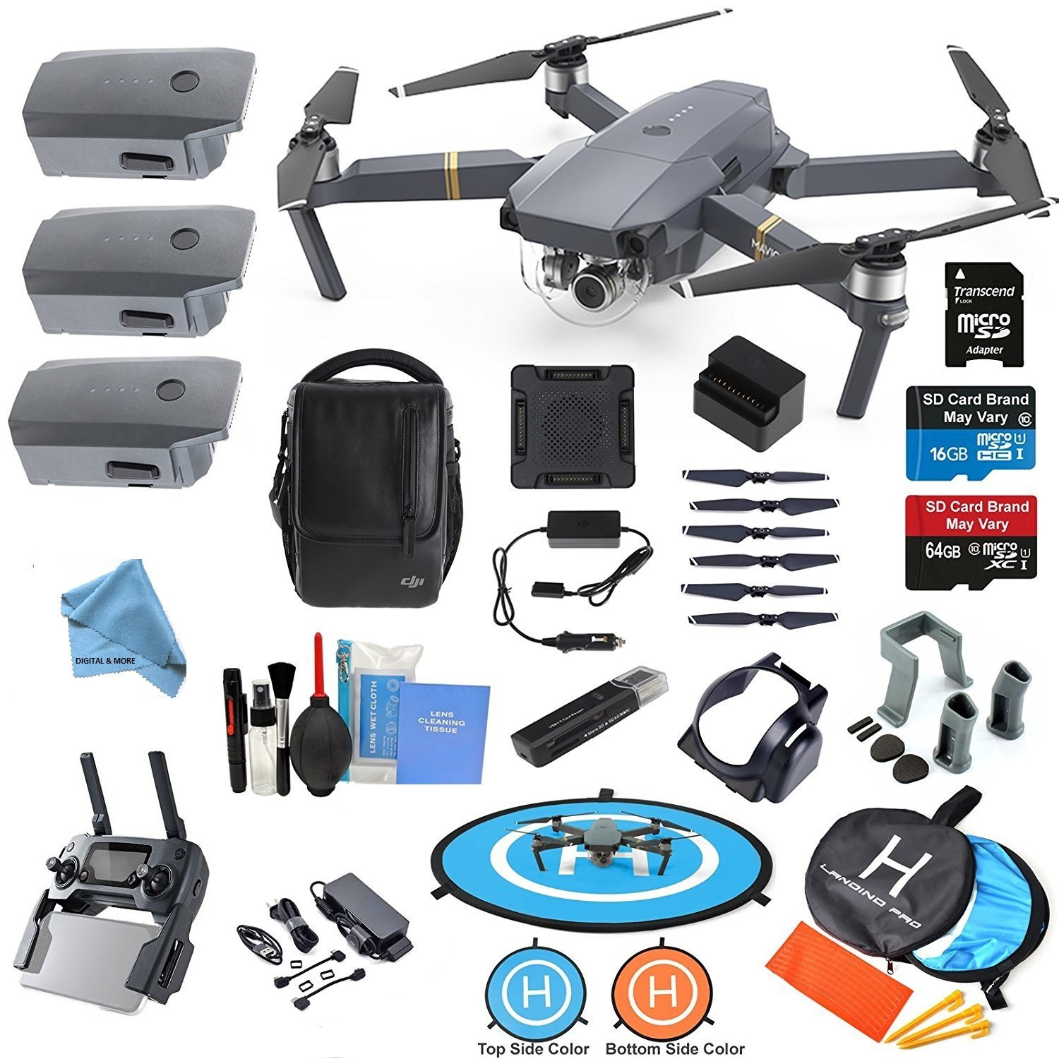 DJI Mavic PRO Drone Quadcopter Flymore ALL YOU NEED & MORE Combo w/ 3 Batteries, 4K Professional Camera Gimbal Bundle Kit w/ Amazing Accessories by DigitalandMore