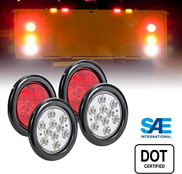 R SAE 4pc 4 White Round LED Reverse Trailer Tail Light Kit 2 Trailer Lights for Boat Trailer RV Trucks DOT FMVSS 108 IP67 Waterproof Back Up Signal Grommet /& Plug Included