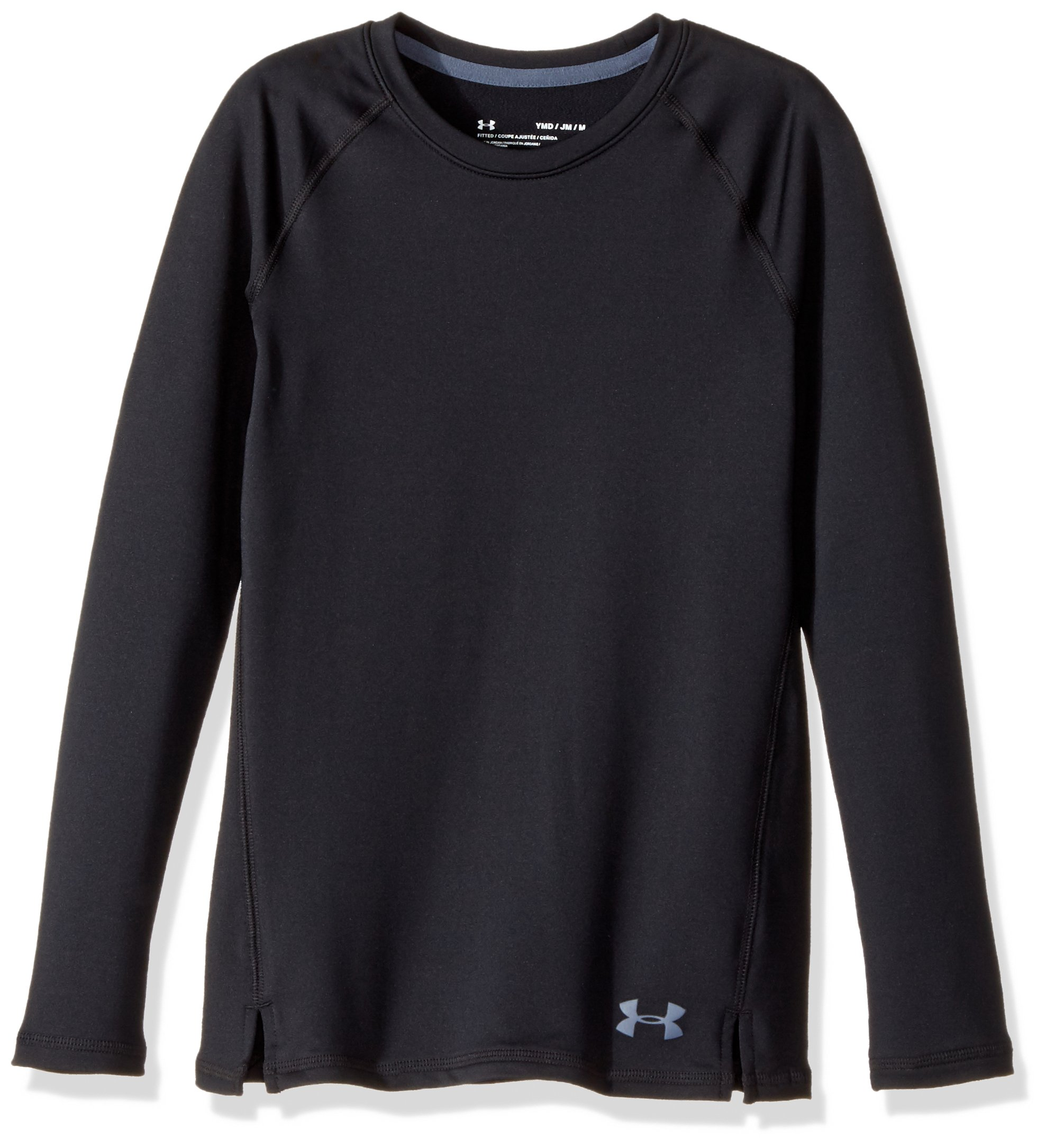Under Armour Girls' ColdGear Crew Neck,Black (001)/Apollo Gray, Youth X-Small