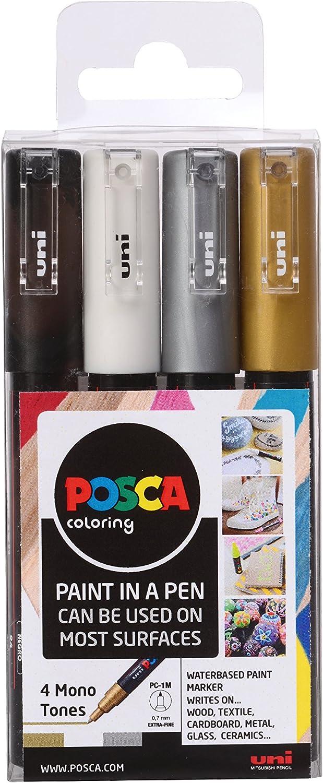 Posca PC-1M - Pack de 4 rotuladores de pintura al agua: Amazon.es: Industria, empresas y ciencia