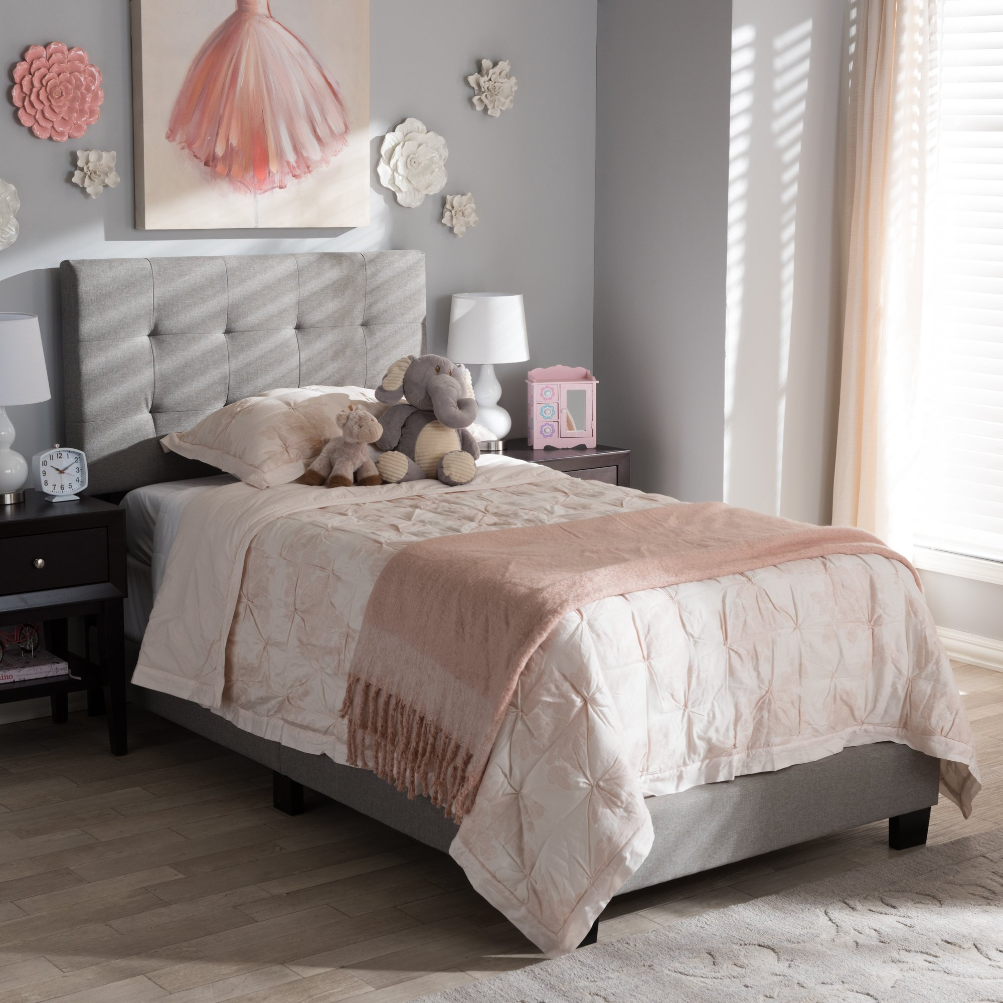 Fabric Twin Size Platform Bed in Gray Finish