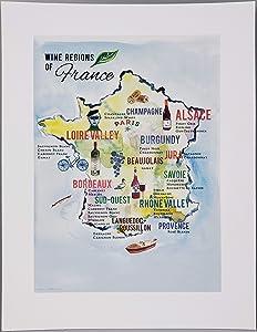 Nancy Nikko French Wine Map, Wine Regions of France, 8 1/2 x 11