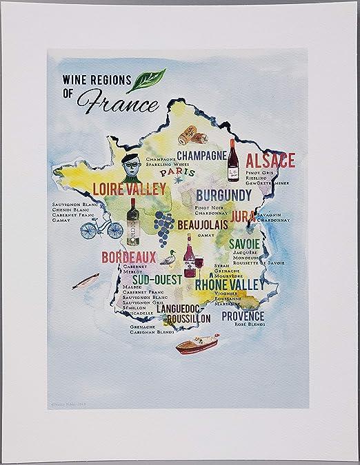 Map Of Regions Of France.Amazon Com Nancy Nikko French Wine Map Wine Regions Of