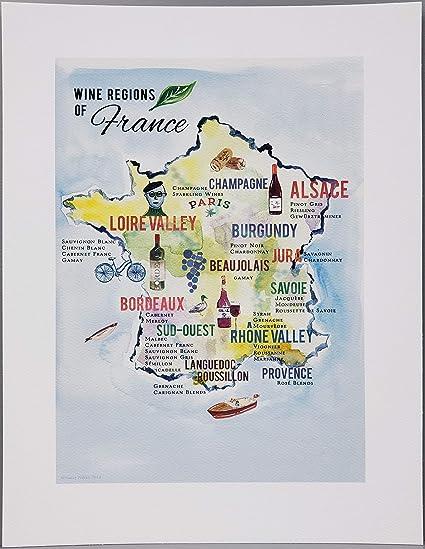 Wine Region Map Of France.Amazon Com Nancy Nikko Design French Wine Map Map Of The Wine