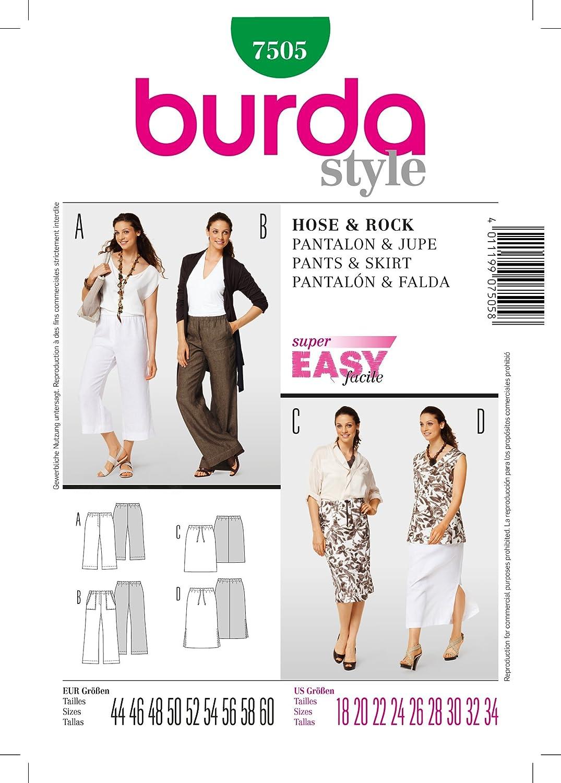 Burda B7505 - Patrón de Costura para Falda y pantalón (19 x 13 cm ...