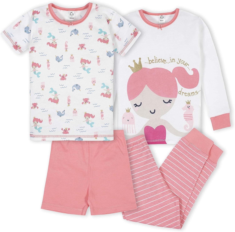 GERBER Baby Girls 4-Piece Pajama Set