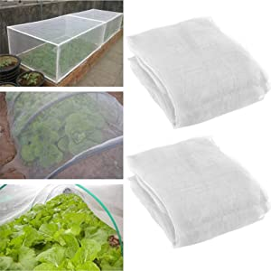 Jasis Woo 2 Pack 10 ft x 15ft Garden Insect Screen - Insect Barrier Netting Mesh Bird Netting Garden Plant Cover for Protecting Plants Vegetables Fruits Flowers from Birds & Insects