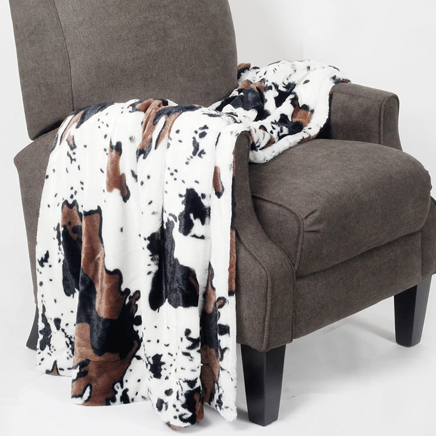 """Home Soft Things Animal Printed Double Sided Faux Fur Throw, 50"""" x 60"""", Cow"""