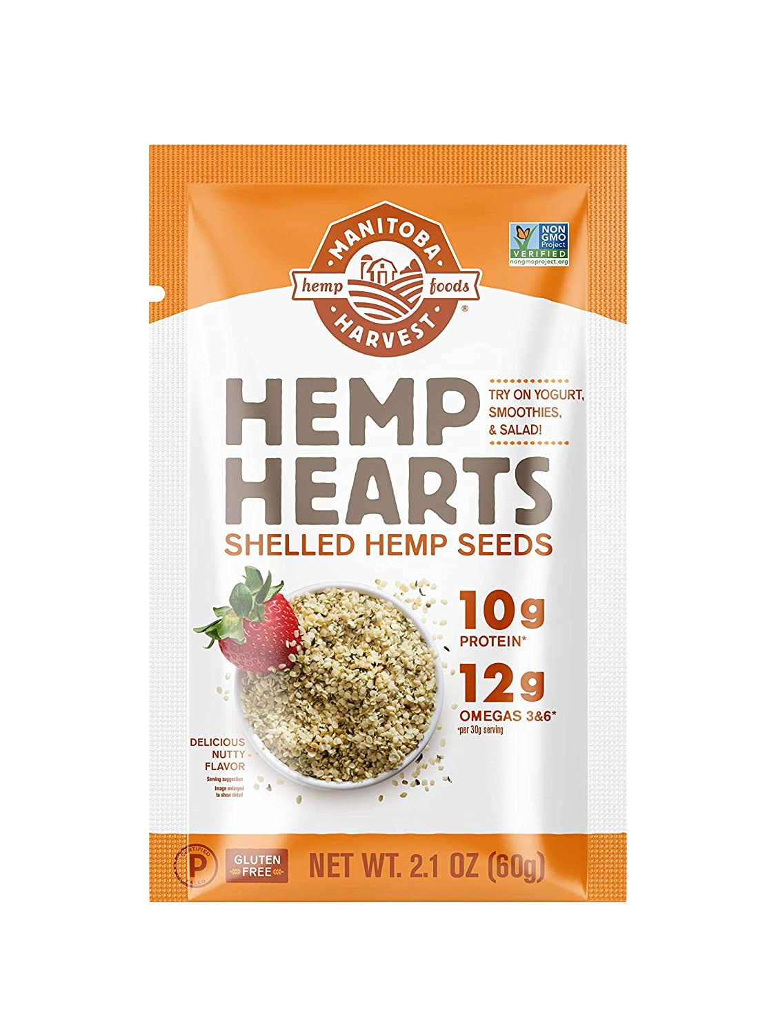 Manitoba Harvest Hemp Hearts Raw Shelled Hemp Seeds, 2.1oz (Pack of 12); with 10g Protein & 12g Omegas per Serving, Keto, Gluten Free, Vegan, Whole 30, Paleo, Non-GMO (12-Pack)