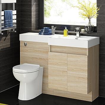 1200mm Oak Vanity Unit Modern Toilet Bathroom Sink Cabinet Furniture Set  MV2833