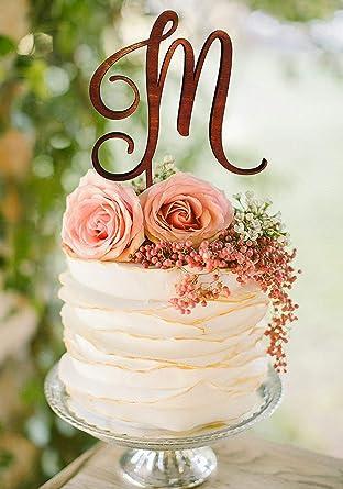 Adorno para tarta con monograma de boda con una sola letra personalizado para decoraci/ón de tartas
