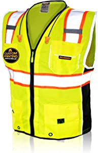 KwikSafety (Charlotte, NC) CLASSIC   10 Pockets Class 2 ANSI High Visibility Reflective Safety Vest Heavy Duty Mesh with Zipper and HiVis for OSHA Construction Work HiViz Men Women   Yellow Large
