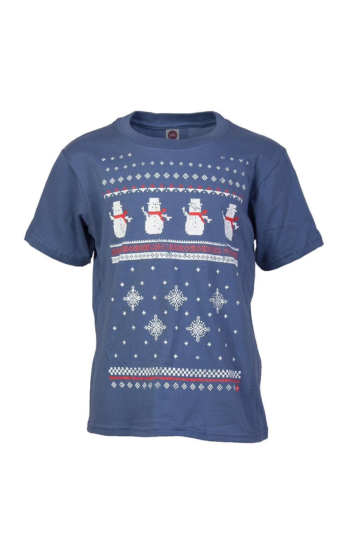Kinder Schneemann Weihnachts T-Shirt - Jeansblau