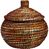 Colorful Woven Kaisa Grass Basket With Lid 'Brushstrokes Basket'