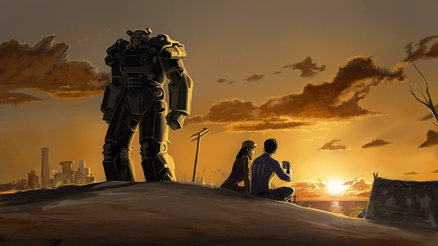 Video Game Wall Decoration,Piper Wright Wall Decor,Power Armor Artwork,Fallout 4 Art Poster, Sole Survivor Art Print Size 24''x32'' (61x81 cm)