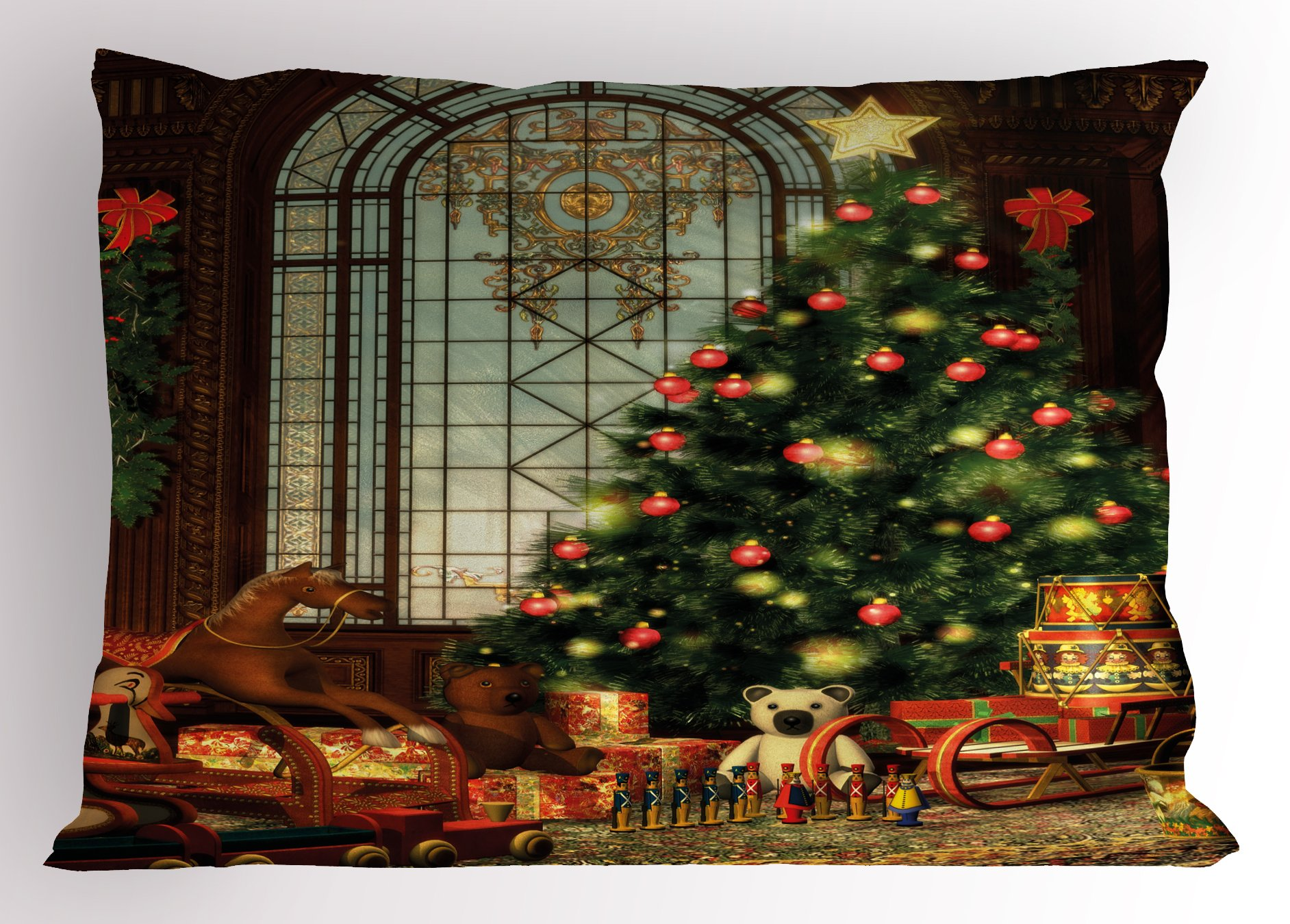 Ambesonne Christmas Pillow Sham, Magical Vintage Ambiance Big Old Fashioned Window Xmas Tree Various Presents, Decorative Standard Size Printed Pillowcase, 26 X 20 inches, Brown Red Green