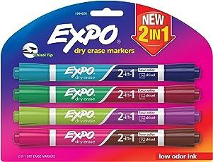 Expo 2en 1marcadores de borrado en seco, punta biselada, varios colores, Bullet, Negro, 4-Count