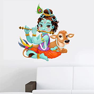 f7bc49ed528 Buy Happy Walls PVC Vinyl  Lord Krishna Flute Playing with Cow   Multi-Coloured Wall Sticker for Bedroom