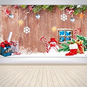 Christmas Party Decoration Supplies, Large Wood and Snowman Design Photo Backdrop for Winter Home Party, Christmas Holiday Winter Home Banner Wood and Snowman Background Banner, 72.8 x 43.3 Inch