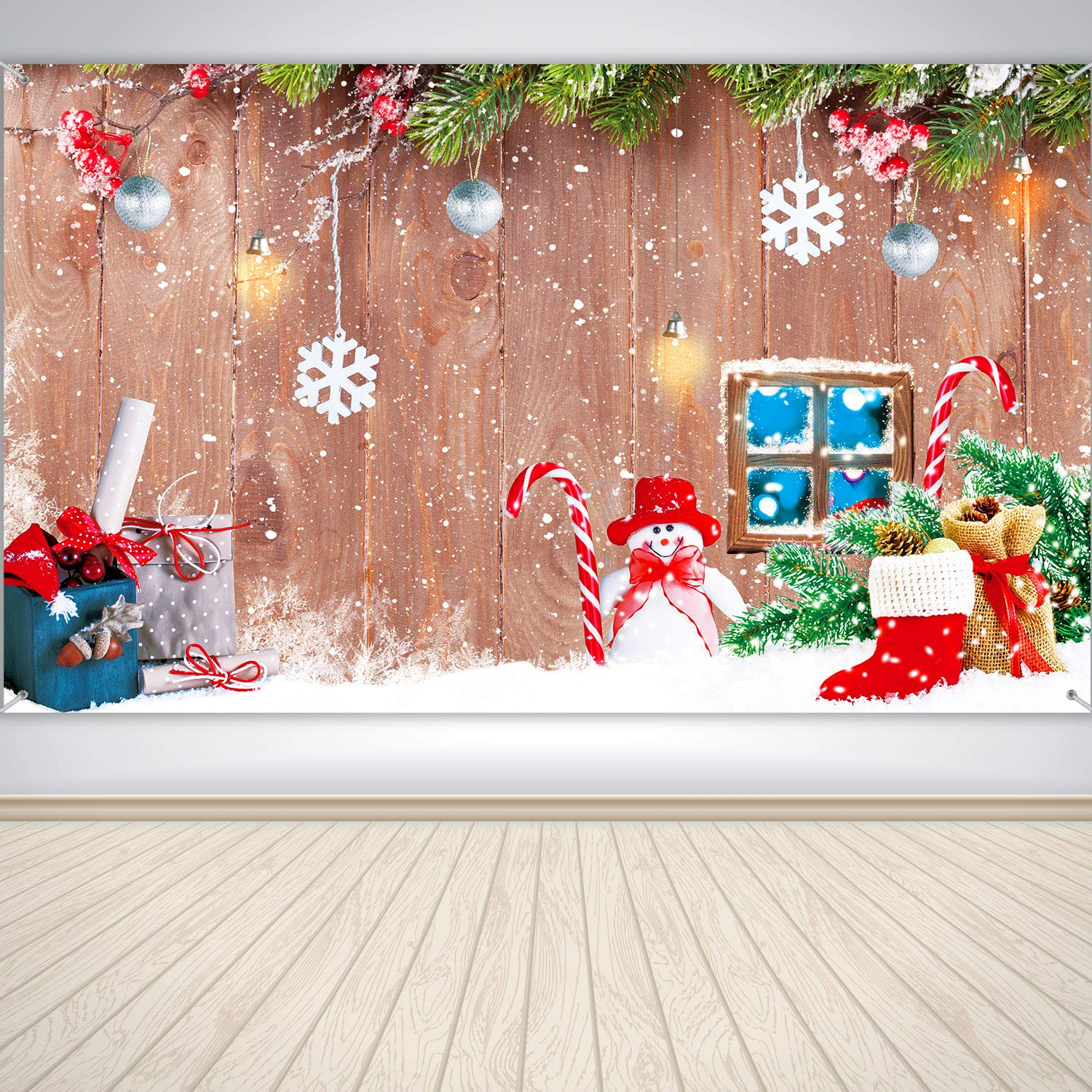 Christmas Holiday Winter Home Banner Wood and Snowman Background Banner 72.8 x 43.3 Inch Large Wood and Snowman Design Photo Backdrop for Winter Home Party Christmas Party Decoration Supplies