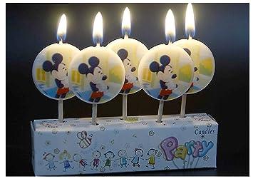AEX 5pcs Mickey Mouse Mini Figura Pastel de cumpleaños Velas ...