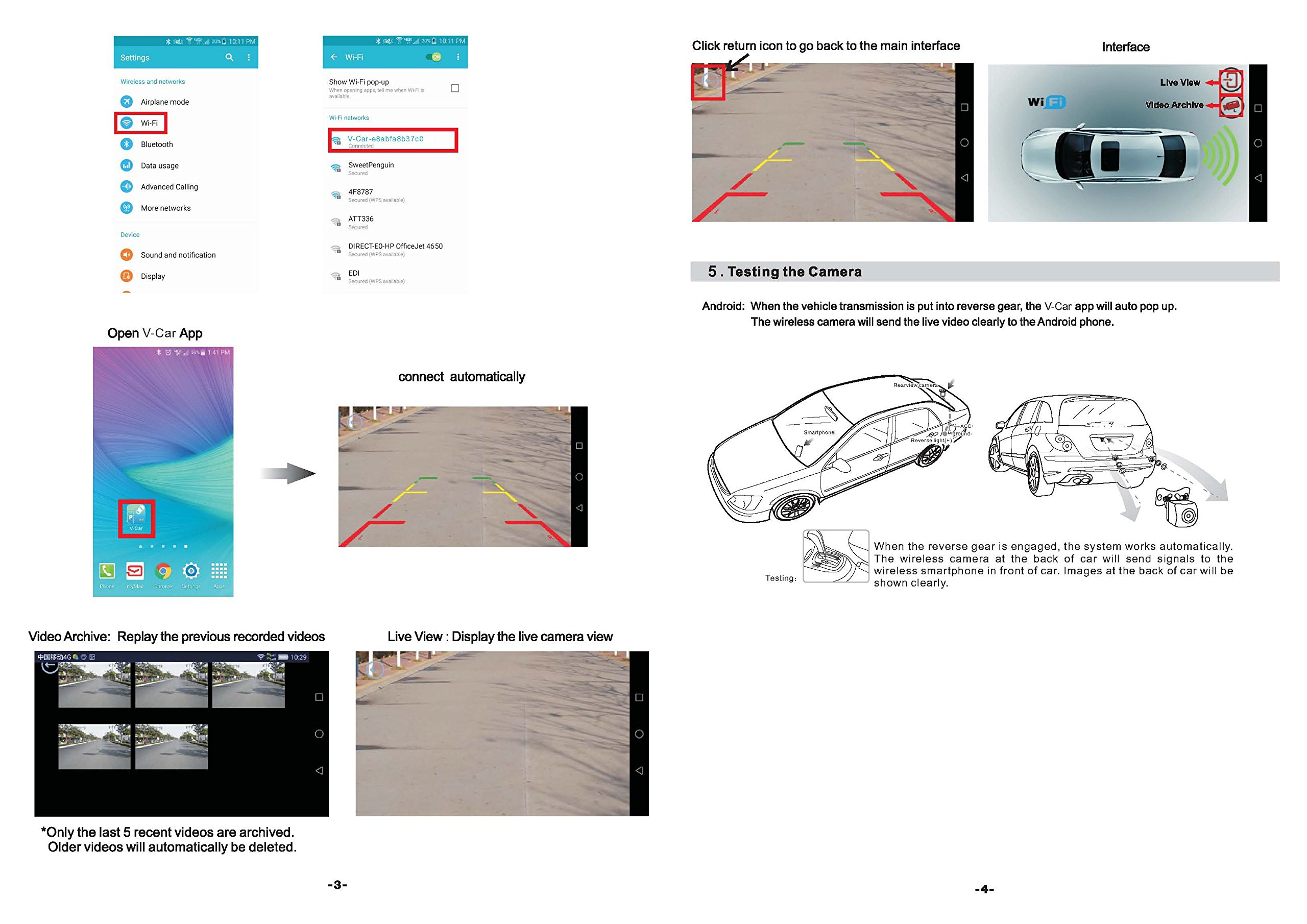 Fumei Wireless Backup Camera for Car with Smart APP Connect to Wifi and  Reverse Video Recording for Android and iPhone/iPad