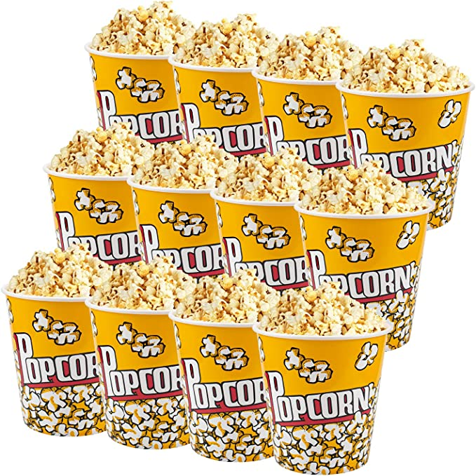 Reusable plastic Set of 4 Adorox Movie Theater Style Popcorn Containers Set Renewed