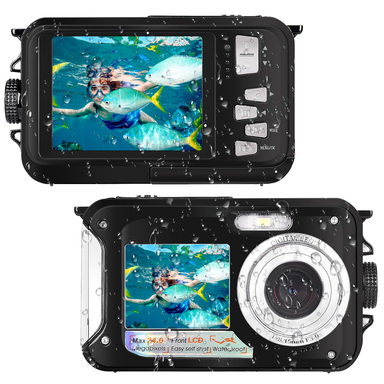 Waterproof Camera Full HD 1080P for Snorkeling 24.0 MP Underwater Camera 2.7 Inch TFT-LCD Dual Screen Waterproof Digital Camera (Black) (Black)