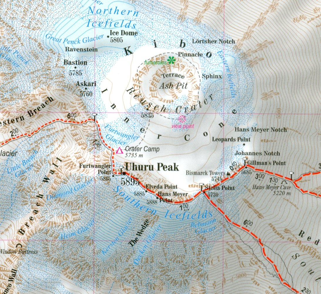 Mount Kenia Karte.Afrikas Hochsten Gipfel Trekking Karte Kilimandscharo