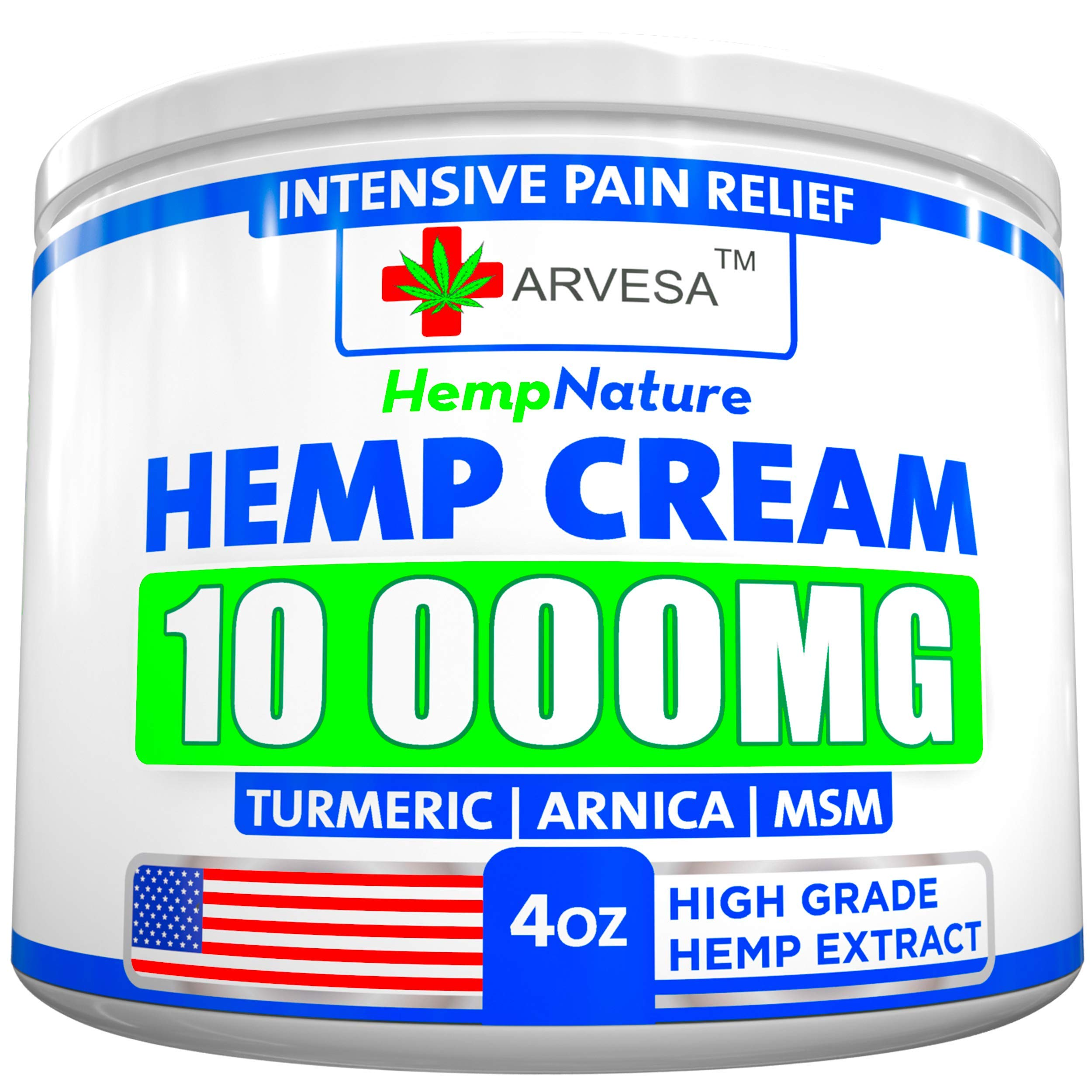 Hemp Pain Relief Cream - 10 000 MG - Made in USA - 4OZ - Relieves Muscle, Joint Pain - Lower Back Pain - Inflammation - Hemp Oil Extract with MSM - EMU Oil - Arnica - Turmeric by Arvesa